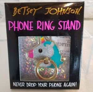 Betsy Johnson Unicorn Phone Ring Grip + Kickstand